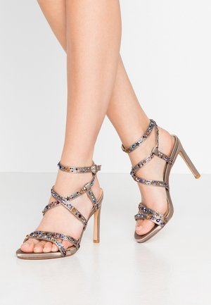 High heeled sandals - pewter
