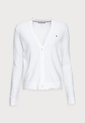 TEXTURE OPEN CARDIGAN - Cardigan - white