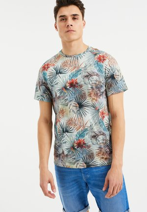 T-Shirt print - blue, off-white, red