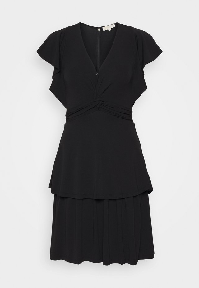 TWIST RUFFLE DRESS - Jersey dress - black