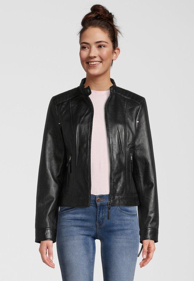 INES - Veste en cuir - black