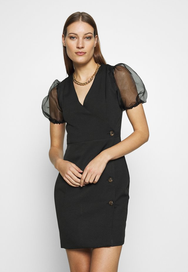 PUFF SLEEVE MINI DRESS - Vapaa-ajan mekko - black