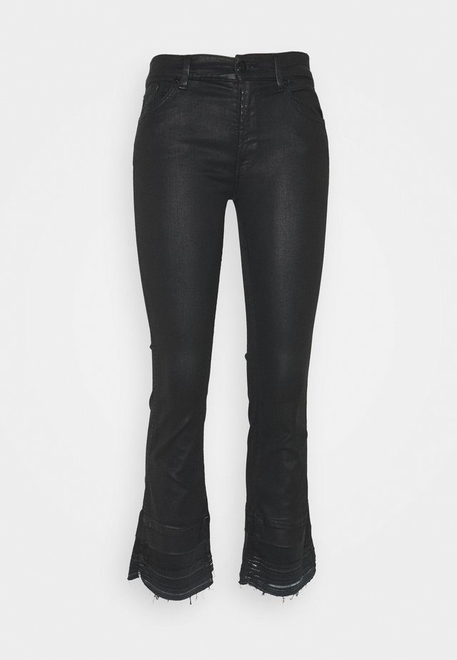 CROPPED BOOT UNROLLED - Jean bootcut - black