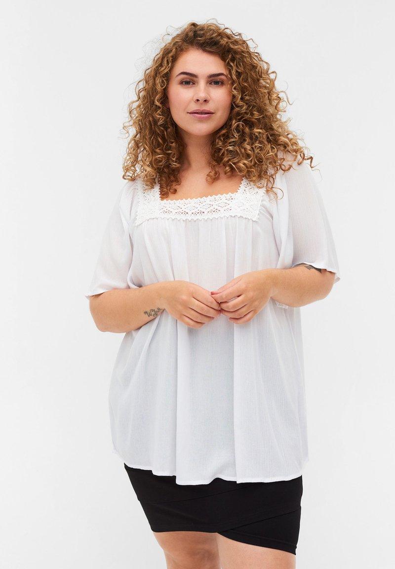 Zizzi - KORTÆRMET VISKOSE  - Blouse - off white