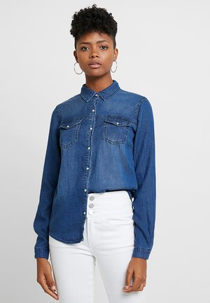 VIBISTA DENIM SHIRT - Button-down blouse - blue denim