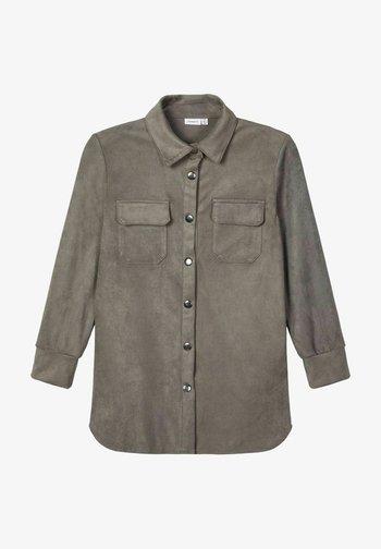 Button-down blouse - granite grey