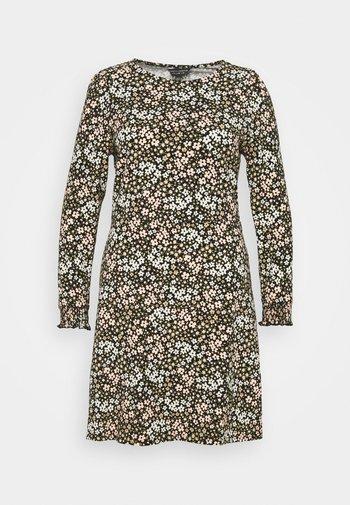 FLORAL PUFF SLEEVE FIT & FLARE DRESS - Žerzejové šaty - multi
