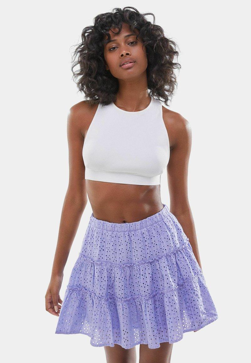 Bershka - SWISS - A-line skirt - mauve