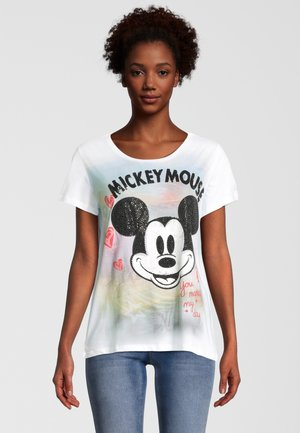MICKEY WITH BACKGROUND - T-shirt print - clear white