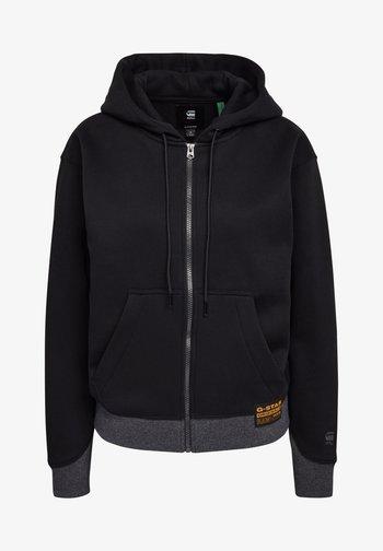 PREMIUM CORE HOODED ZIP THRU LONG SLEEVE - Zip-up sweatshirt - dk black