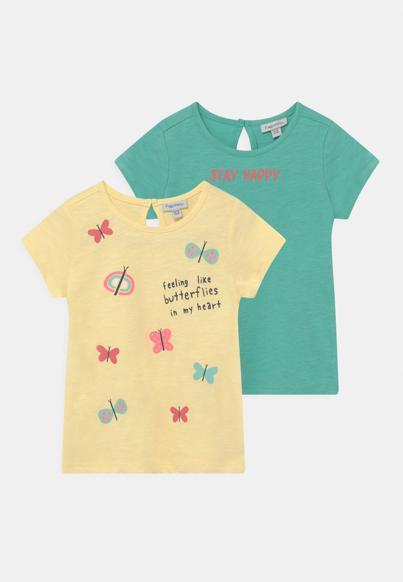 OVS - PACK 2 - T-shirt print - lemon meringue/holiday
