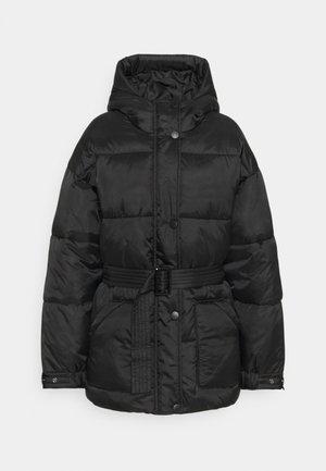 HOODED SELF BELTED PUFFER JACKET - Winter jacket - black