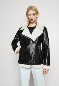 NA-KD - SHINY AVIATOR JACKET - Winter jacket - black/white - 3