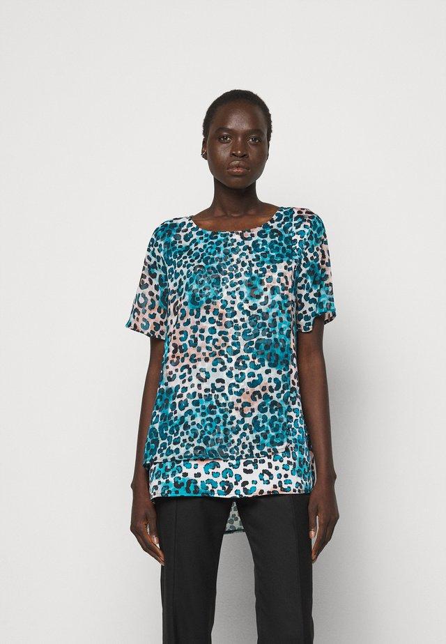 Print T-shirt - ivory gemstone/black/multi