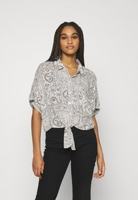 American Eagle - CORE TIE FRONT - Button-down blouse - natural - 0