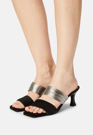 ANA - Heeled mules - black/silver