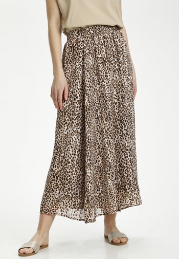 Pleated skirt - brown leo print gold lurex