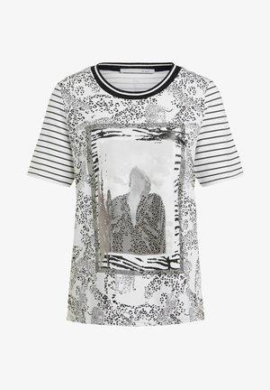 Print T-shirt - black offwhite