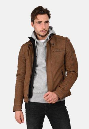 JAYDEN - Lederjacke - dark brown
