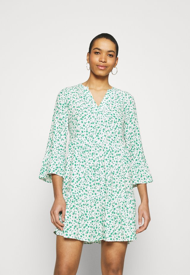 PRINTED DRESS - Korte jurk - white/green