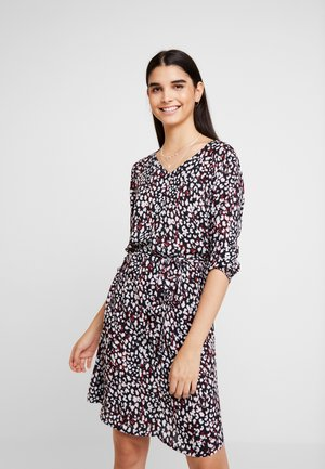PRINTED DRESS WITH BELT - Day dress - dark navy