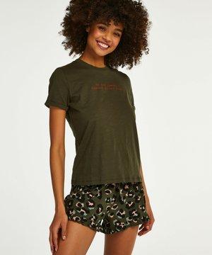 LEOPARD RUFFLE - Pyjama bottoms - green