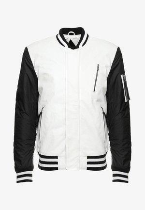 BESASCHA - Leather jacket - white/black