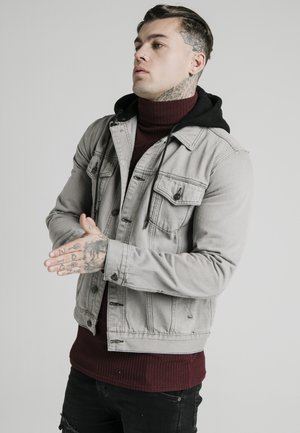 WITH DETACHABLE HOOD - Denim jacket - grey