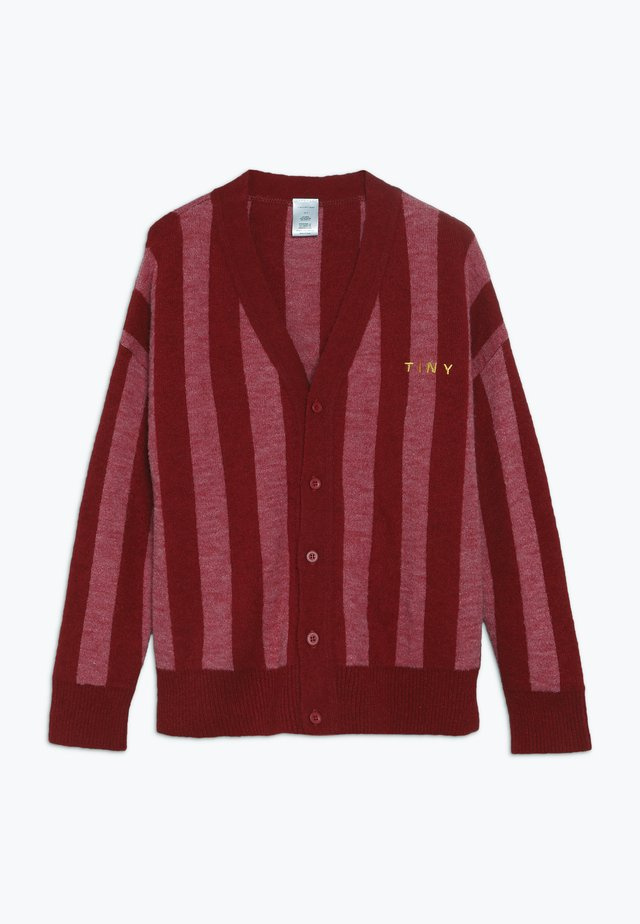 STRIPES CARDIGAN - Neuletakki - burgundy/bubble gum