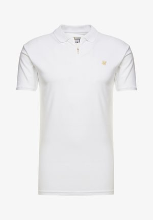 STRETCH FIT ZIP COLLAR - Koszulka polo - white