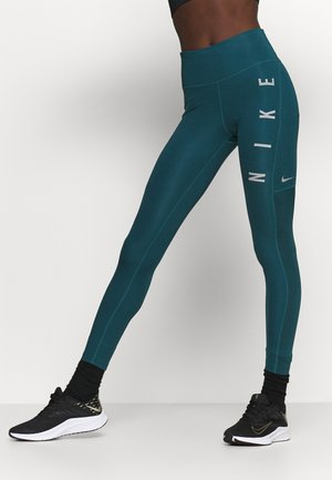 RUN EPIC FAST - Leggings - dark teal green/silver