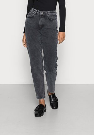 TROUSER RELAXED FIT CROPPED LENGTH HIGH WAIST - Straight leg jeans - dark black wash