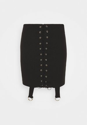 LACE UP STRAP DETAIL SKIRT - Mini skirt - black
