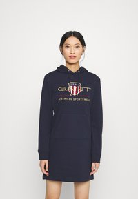 GANT - ARCHIVE SHIELD HOODIE DRESS - Day dress - evening blue - 0