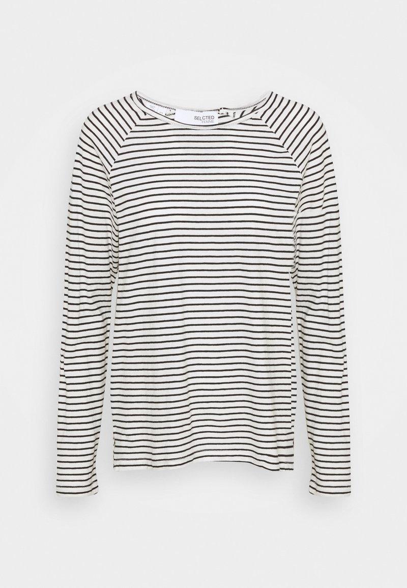 Selected Femme - SLFBELIVE TEE - Long sleeved top - black/snow white