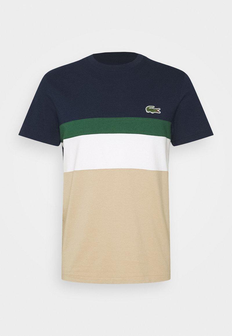Lacoste - T-shirt imprimé - beige/dark blue/dark green