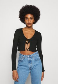Nly by Nelly - TIE FRONT - T-shirt à manches longues - black - 0