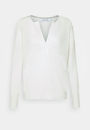 OPEN NECK - Sweter - ecru heather