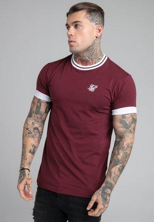 ROLL SLEEVE TEE - T-shirt basic - burgundy/white