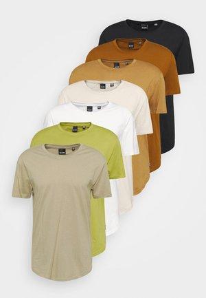 ONSMATT LIFE LONGY TEE 7 PACK - Basic T-shirt - white/silverline/overlandtrek/olive/foxtrot/monks/black