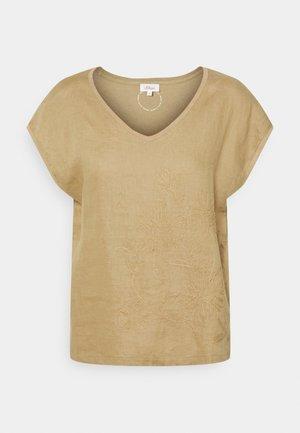 Print T-shirt - desert sand embroi