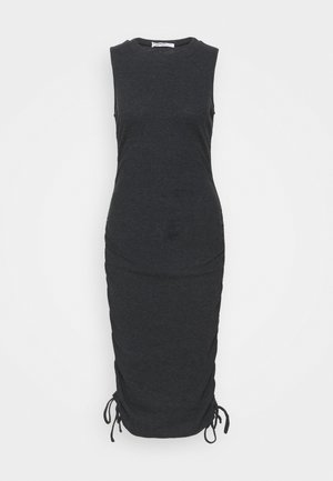 RUCHED DRESS WITH HIGH ROUND NECK - Day dress - black