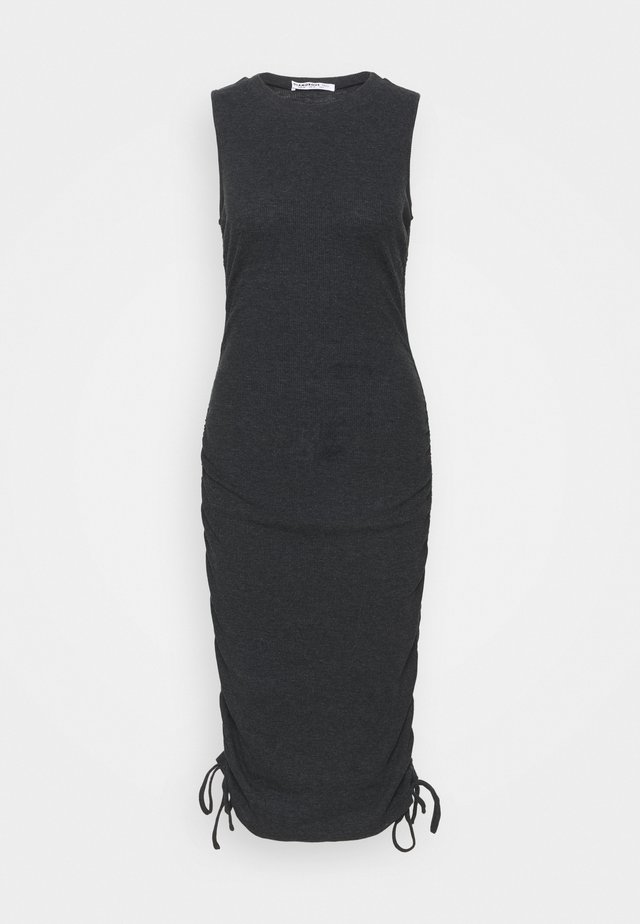 RUCHED DRESS WITH HIGH ROUND NECK - Denní šaty - black