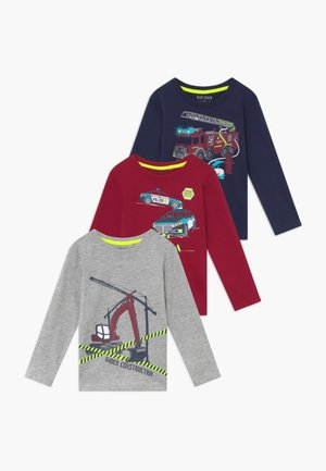 KIDS FIRE TRUCK POLICE CAR DIGGER 3 PACK  - Langarmshirt - bordeaux/blau/nebel