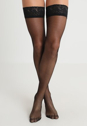 PLAIN LEG TOPPED HOLD UPS - Over-the-knee socks - black