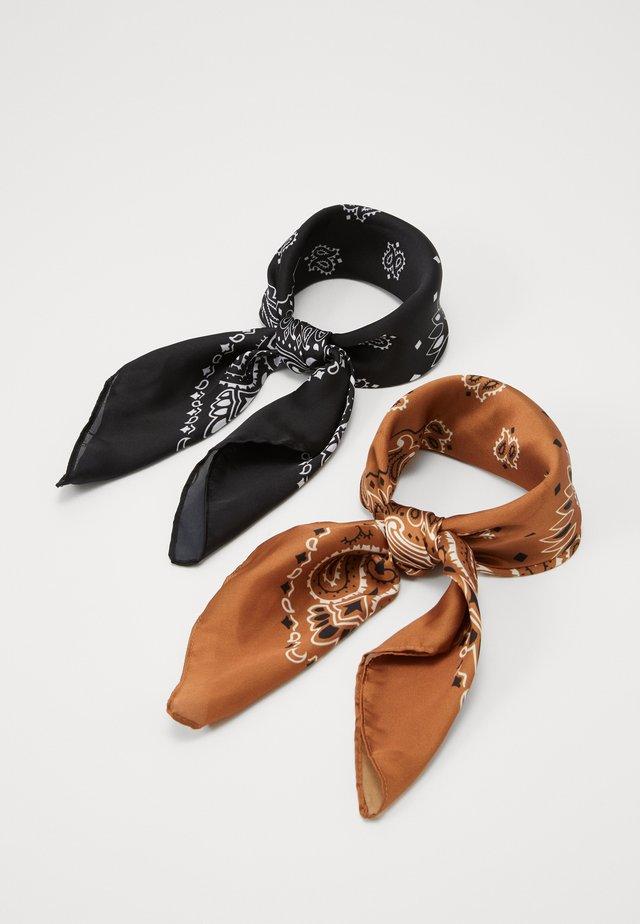 BANDANA UNISEX 2PACK - Tørklæde / Halstørklæder - black/cognac