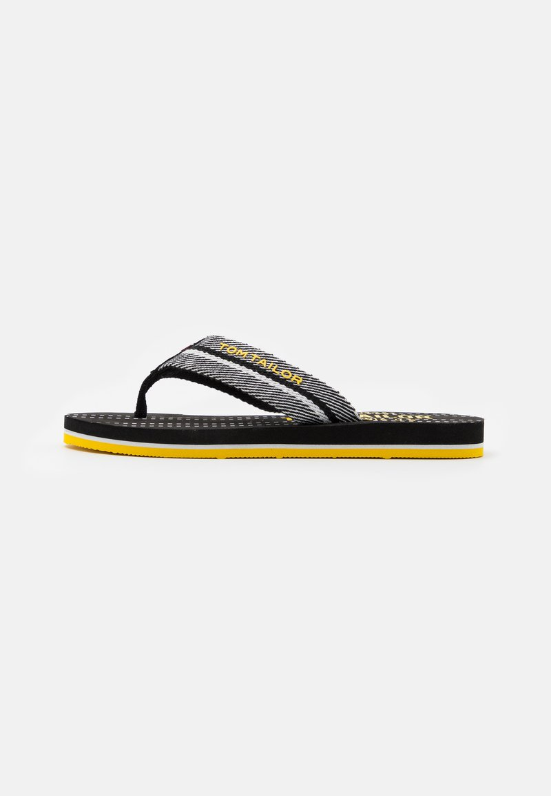 TOM TAILOR - T-bar sandals - black/white/yellow