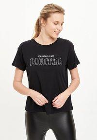 DeFacto - Print T-shirt - black - 3