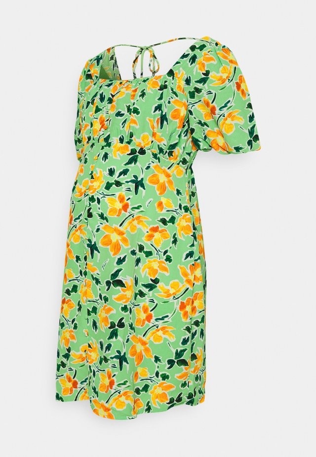 MINI BUTTON THROUGH DRESS WITH GATHERED BUST PANEL - Korte jurk - green