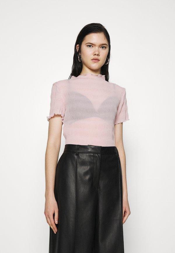 Weekday ELFRIDA TURTLENECK - T-shirt z nadrukiem - dusty pink/rÓżowy YSVQ